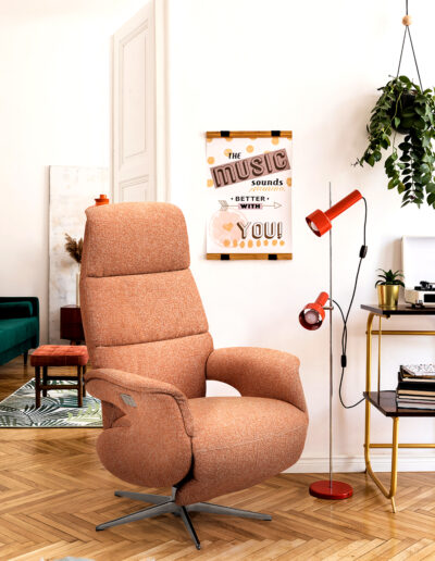 Stylish compositon of retro home interior with mock up poster fr